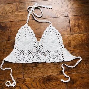 LAST ONE! White crochet bikini bralette halter top
